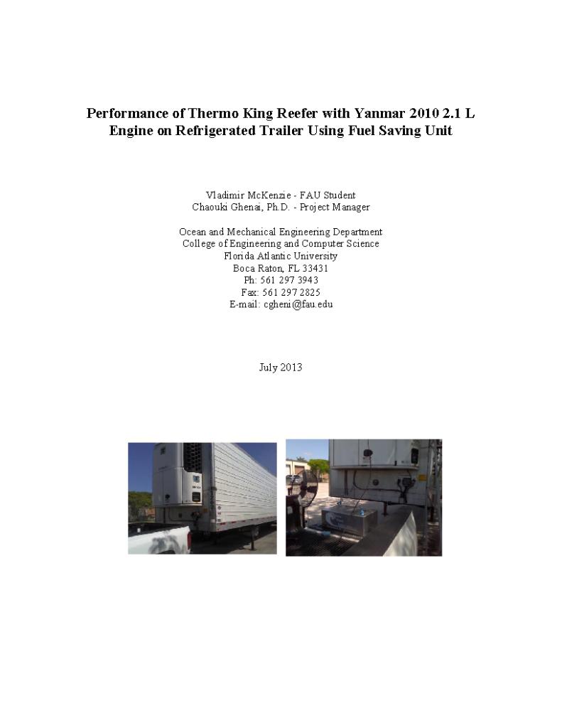 FAU Vapster Diesel TK fuel Report 07-2013